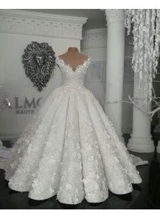 designer brautkleider mit spitze blumen weiße hochzeitskleider online modellnummer xy423 in