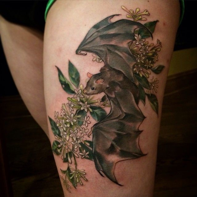 Bat and night blooming jasmine recently completed by @feralcatbox