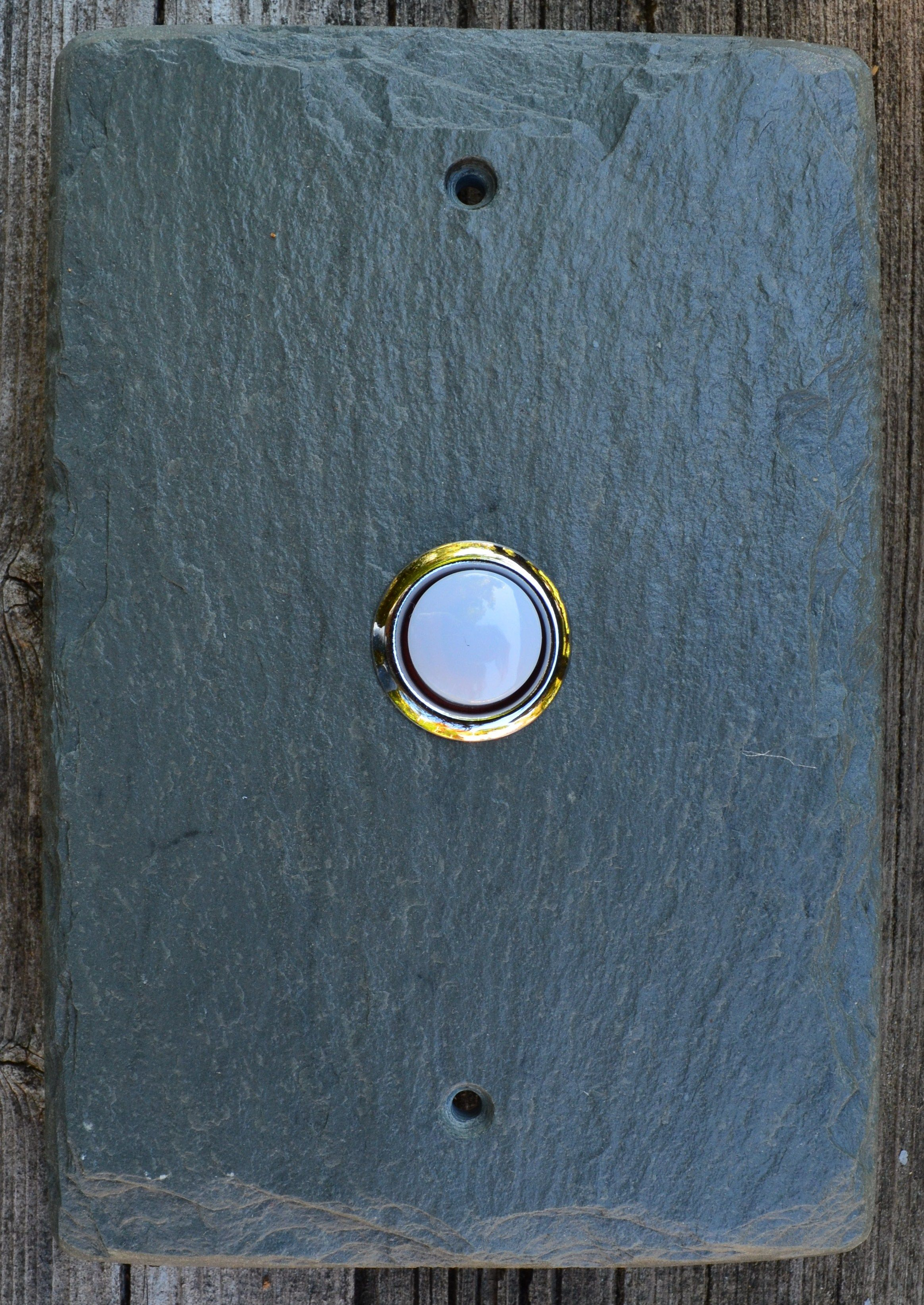 Slate Doorbell Plate In Vermont Gray Slate, By Vermont Slate Art.