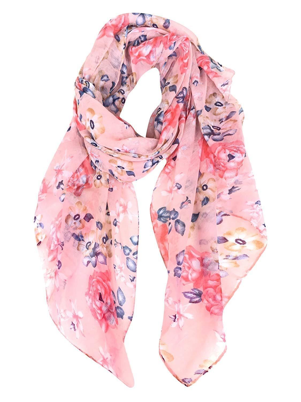 Fashion Flowers Print Shawl Wrap For Women Lightweight Scarves