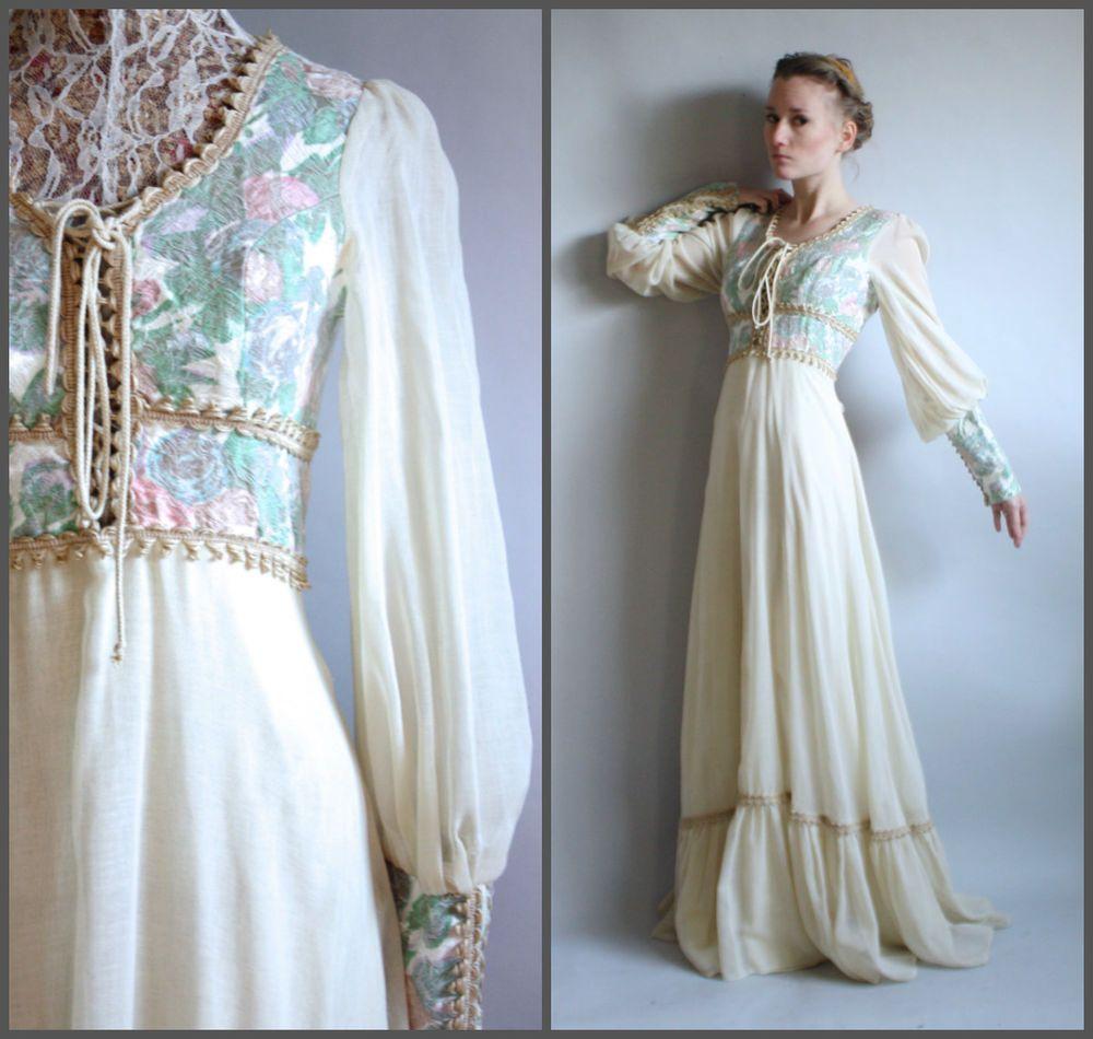 39338ac52316 Gunne Sax Black Label White 60s 70s Boho Rare Renaissance Peasant Dress  Maxi S  GunneSax
