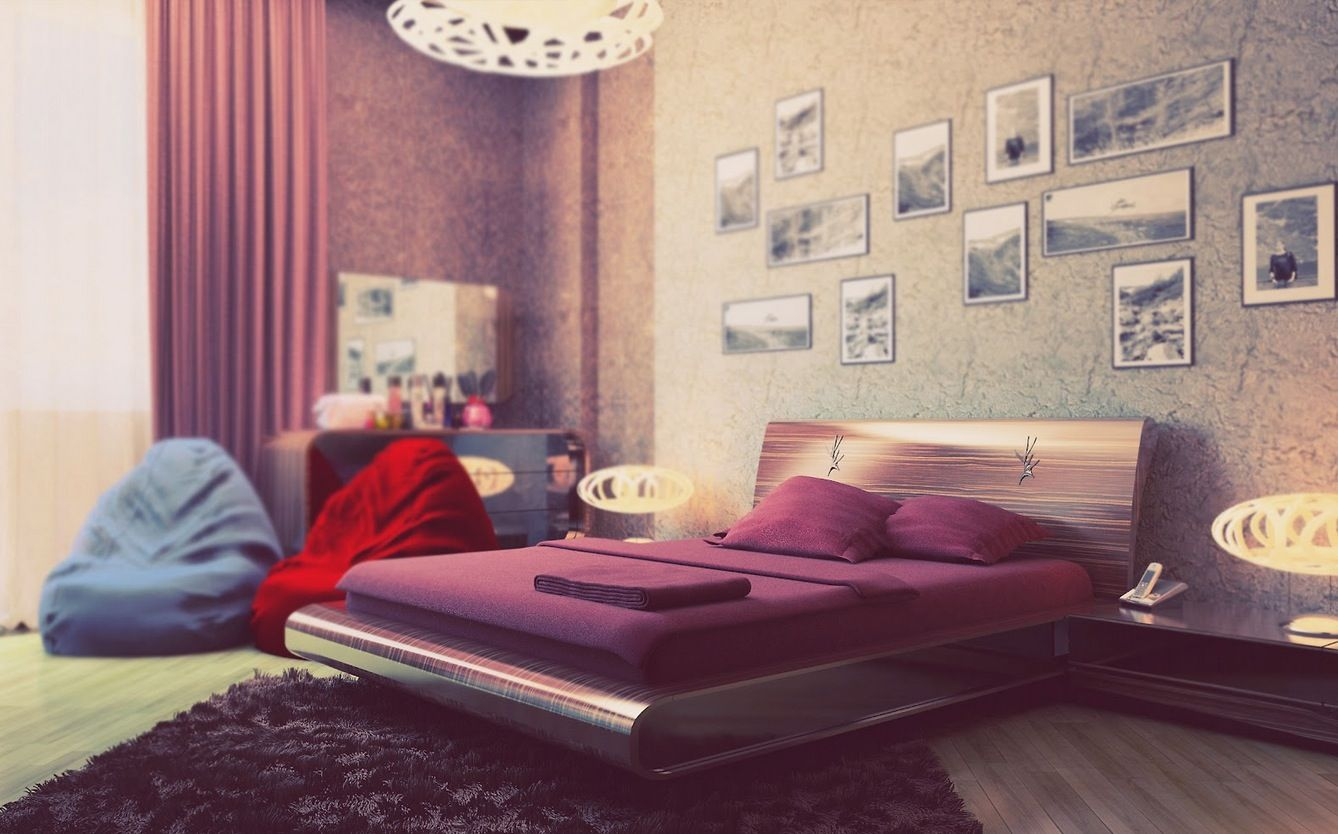 Young Bedroom with Purple Cream Design Idea Bedrooms for Young ...