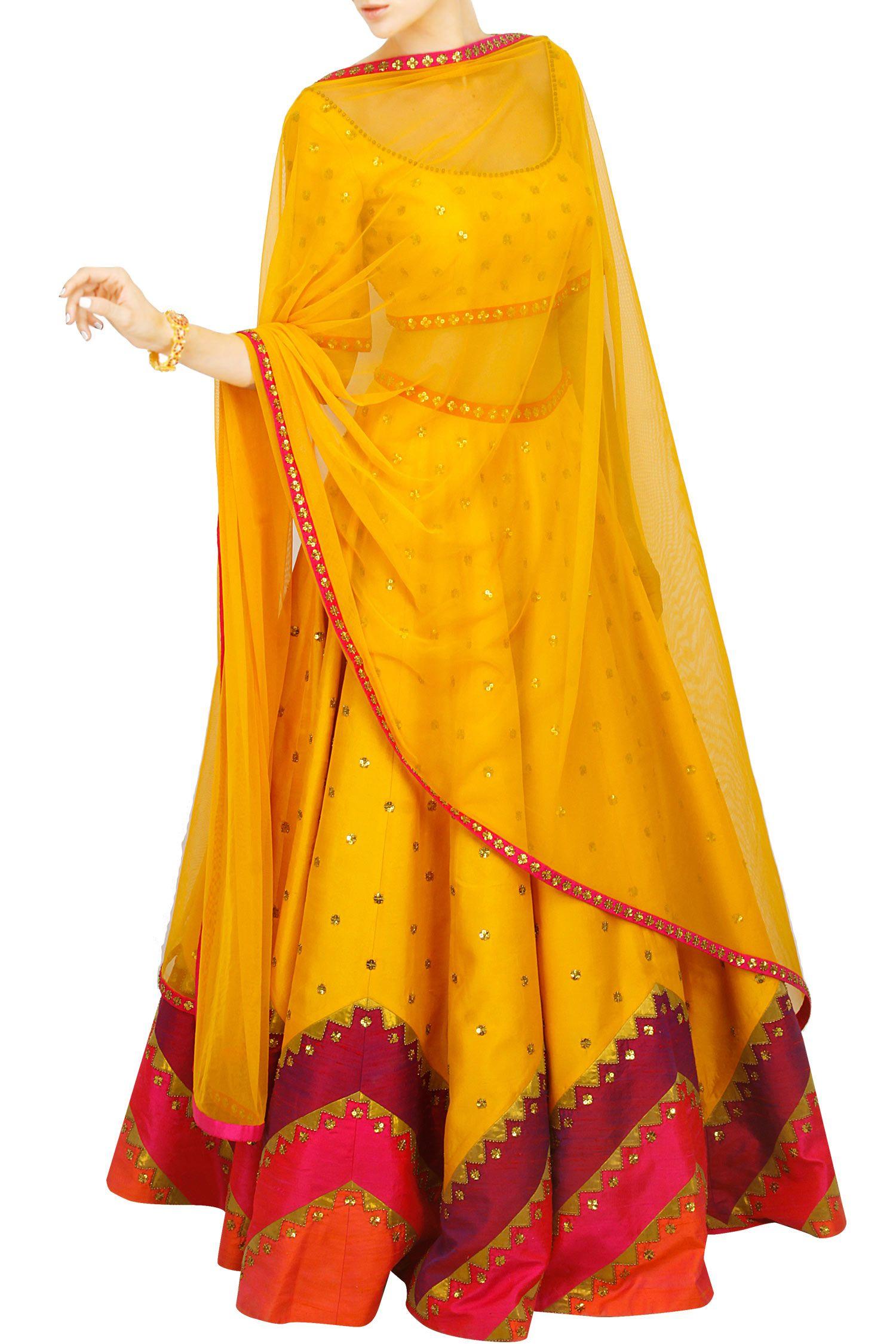 2be94c8f0e Yellow lehenga set with multicoloured aztec border; perfect Garba outfit