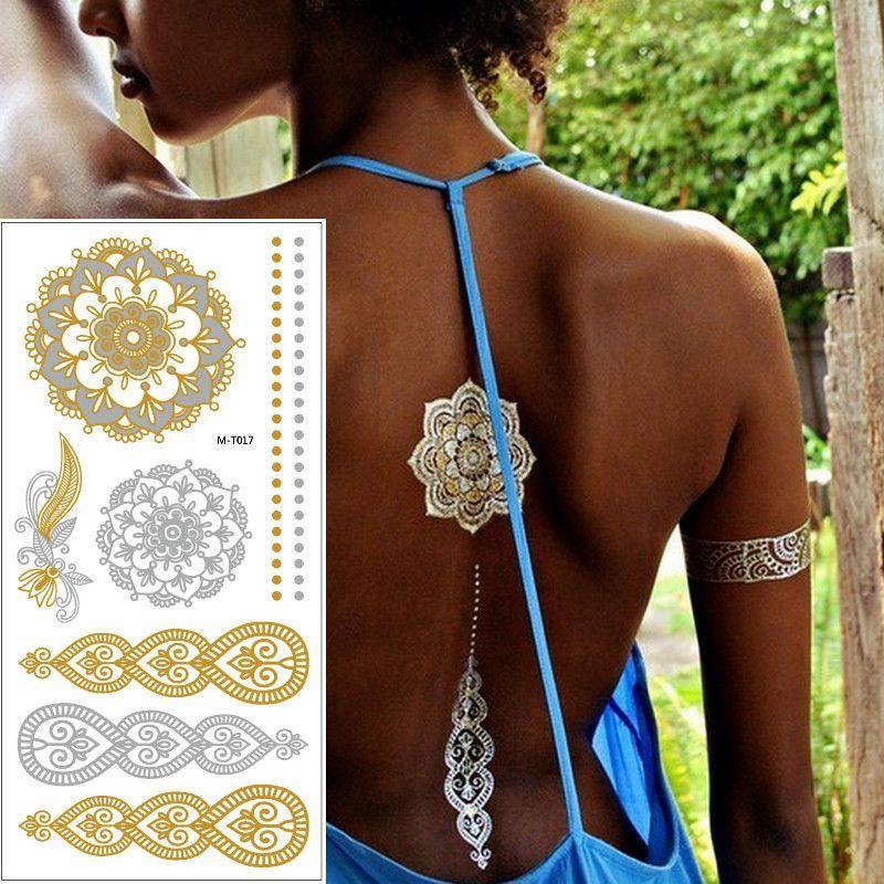 753248585 1sheet Indian Arabic body art women metallic temporary Mandala Flash  Tattoos necklace sticker gold lace tatoo tatuagem maquiagem