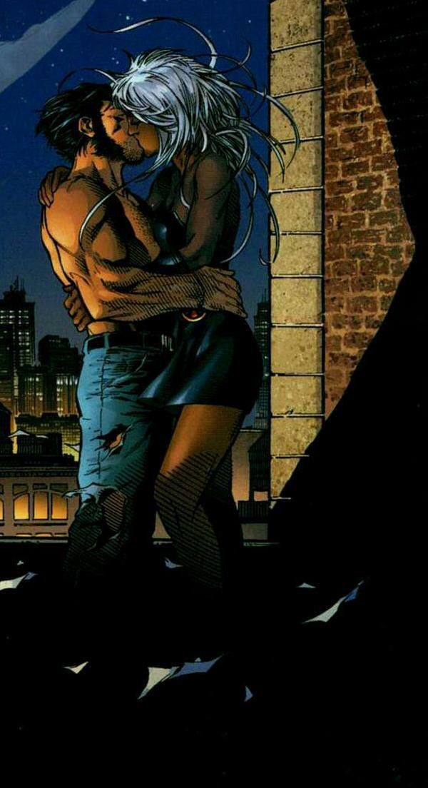 """Wolverine & Storm from """"X-Men"""" graphic novel kissing."""