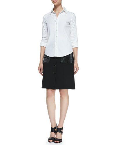 Duvatine Button-Front Skirt