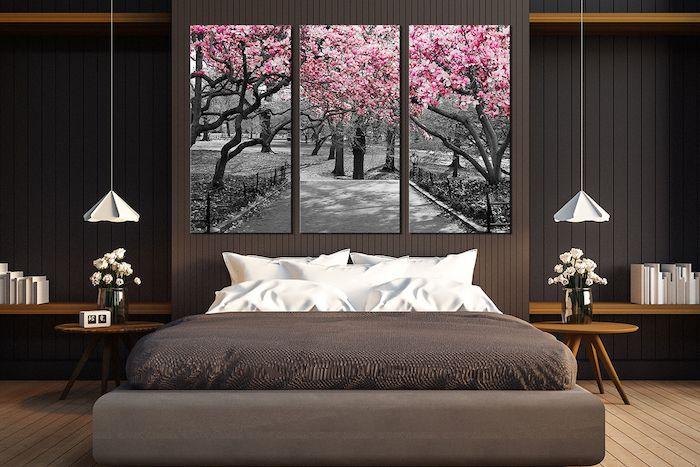 Graue Wandfarbe Mit Braun Und Beige Kombinieren, Graue Wandbilder Mit Rosa  Bäumen, Idee Schön