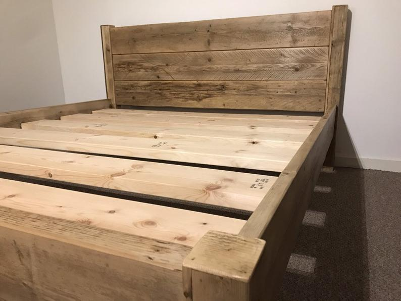 The Suffolk Bed Frame Chunky Solid Rustic Reclaimed Pine Wood With Headboard All Sizes Available Free Uk Delivery Bed Frame Wooden Bed Frames Rustic Bedroom Furniture