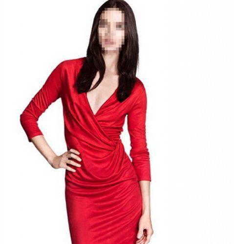 Women's Draped Half Sleeve Deep V-neck Bodycon Business Pencil Dress(J3-5)-XSmall red WIIPU http://www.amazon.com/dp/B00KK984JK/ref=cm_sw_r_pi_dp_qsDiub1NRA5HN