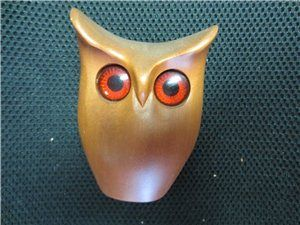 "vintage Mid Century carved 4"" owl Oregon Myrtlewood souvenir kitschy big eyes  $18.00"