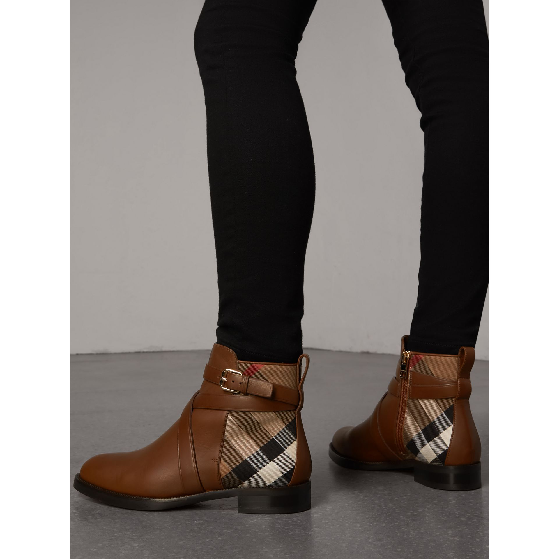 b182ce765 Strap Detail House Check and Leather Ankle Boots in Bright Camel - Women |  Burberry United States