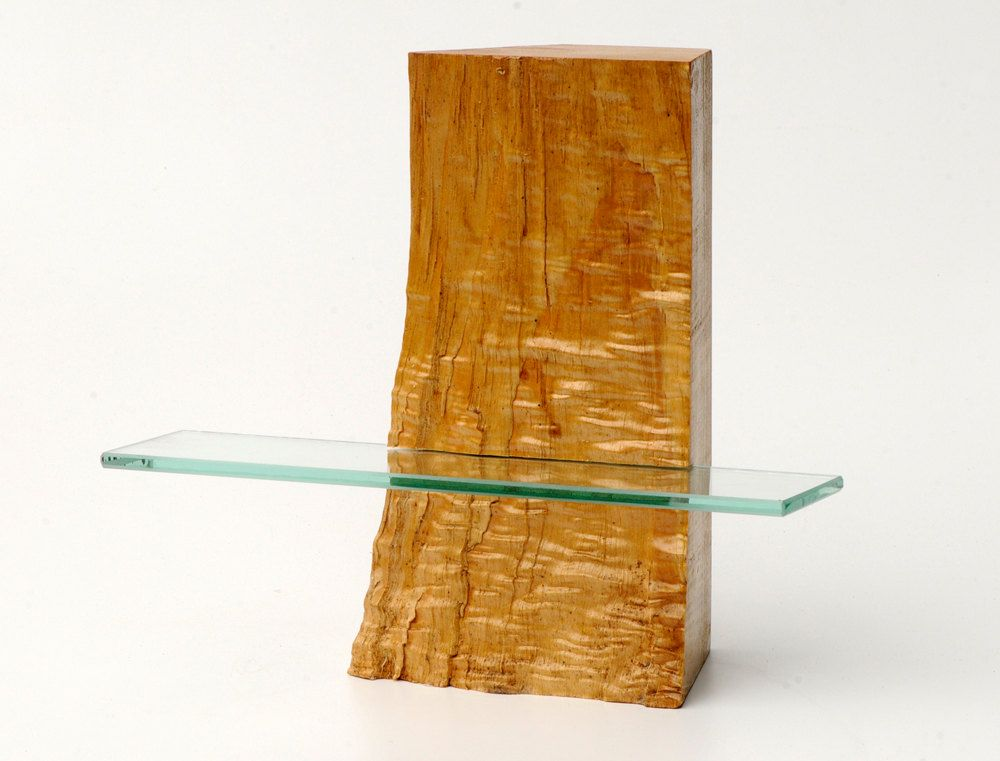 Curly maple wood free standing shelving unit with one glass shelf ...