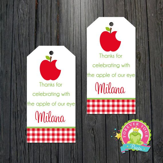 Apple Of My Eye Favor Tags Apple Of Our Eye By Foreveryourprints Favor Tags Apple Theme Personalized Gift Tags