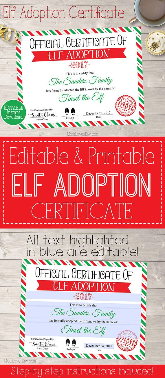Personalized Elf Adoption Certificate Printable Official