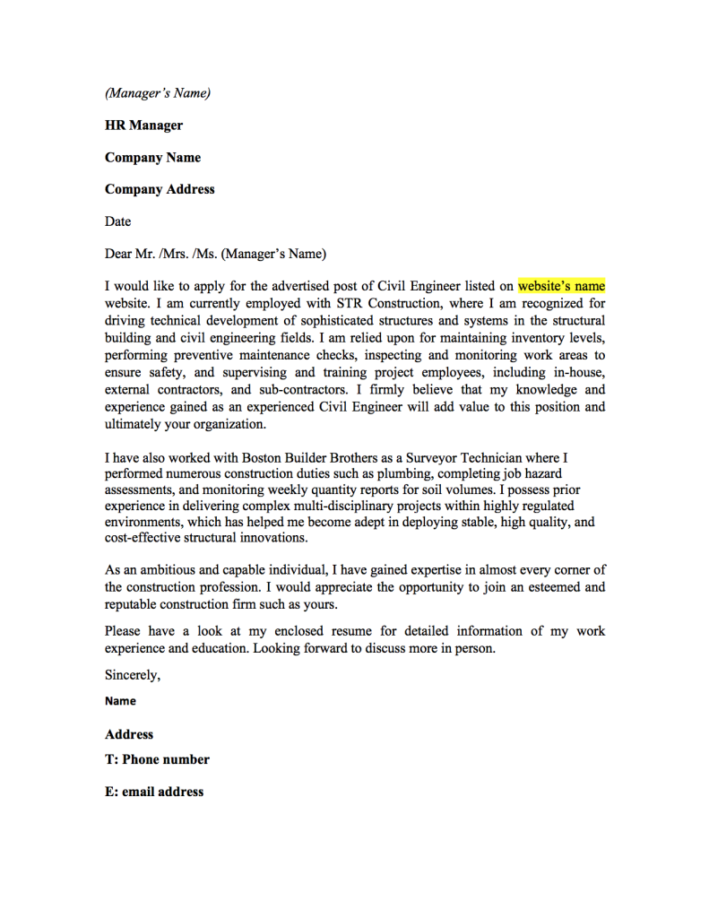 this cover letter the left was based off civil engineering your and ...