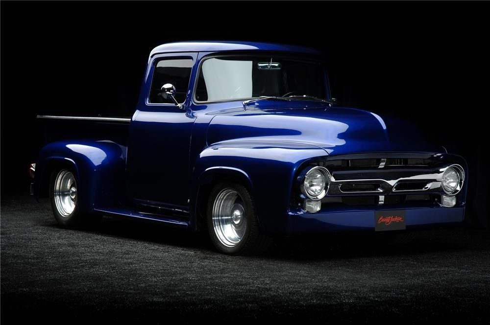 d9b7213e9d65b Custom Blue 1956 Ford F100! Whether you're interested in restoring an old  classic car or you just need to get your family's reliable transportation  looking ...