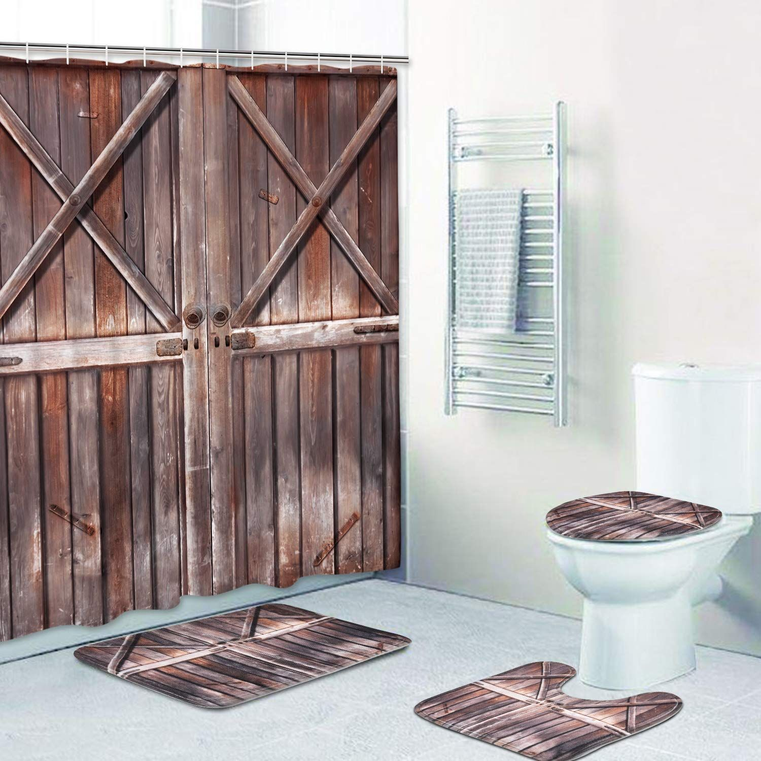 4 Piece Rustic Shower Curtain Sets With Non Slip Rugs Toilet Lid