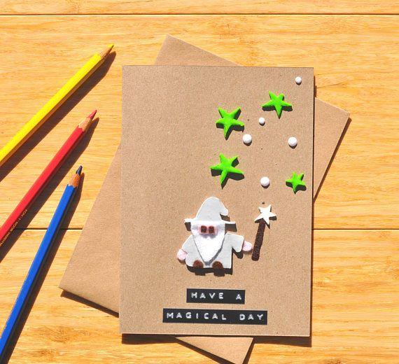 Wizard Card Birthday Greeting Card Handmade Cute Stars
