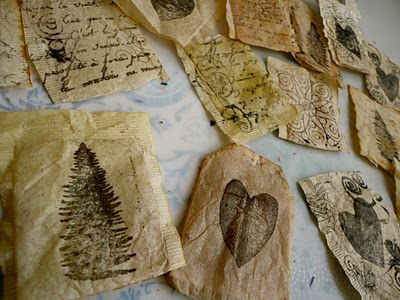 a good tutorial - stamping on teabags as well as stuffing them and making ornaments from them.