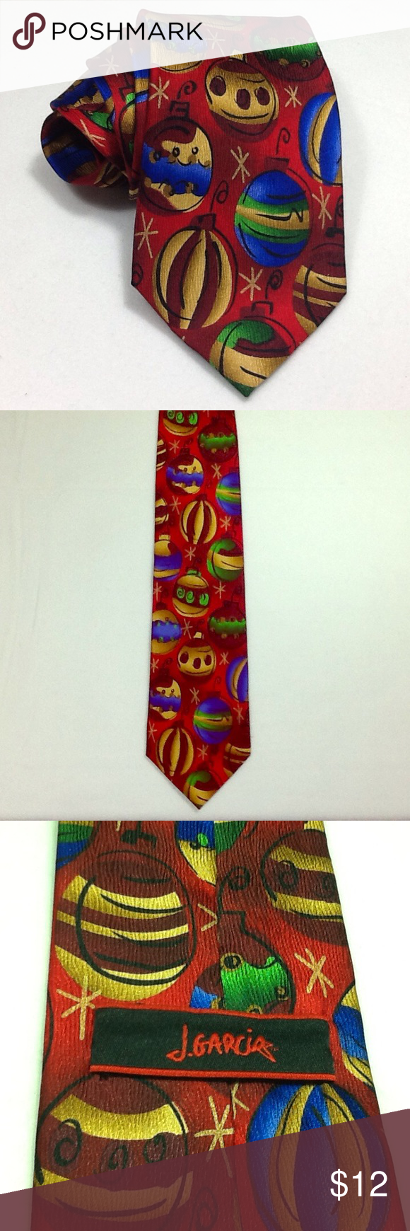 Jerry Garcia Christmas tie Excellent pre-owned condition. Red with ...