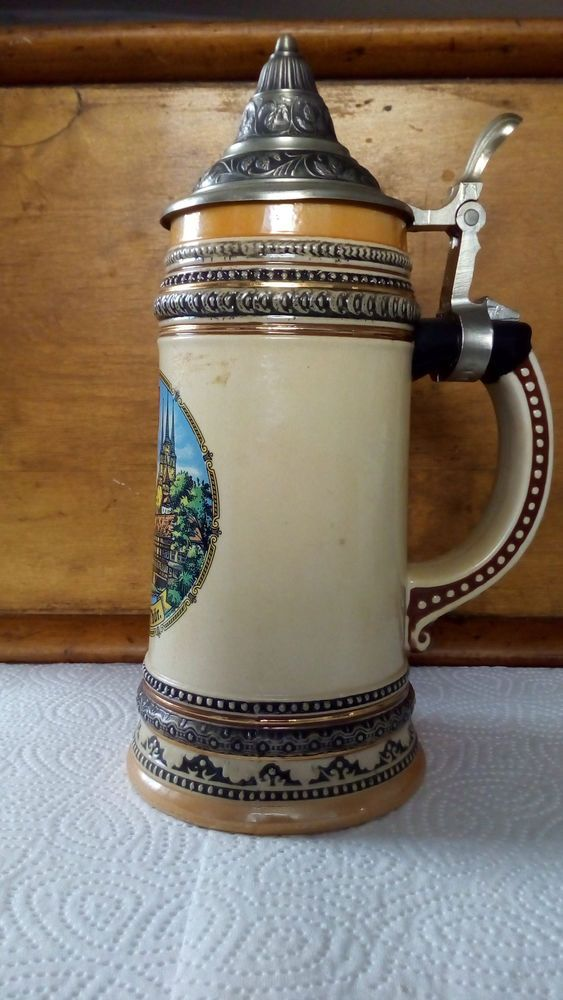Alter Bierkrug antik Humpen Zinndeckel Theo Kühn Jugendstil Art Deco