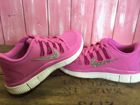 53d596cc9773 48% off SALE Blinged Womens Nike Free 5.0 + Running Shoes Pink Fuschia  White Bling Customized With Swarovski Crystal Rhinestones New in Box running  2015 ...