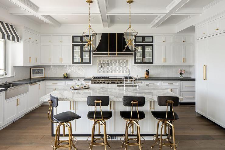 Restoration Hardware Vintage Toledo Counter Stools Alighted At A Stunning White Kitchen Island White Modern Kitchen Kitchen Black Counter Black Kitchen Island