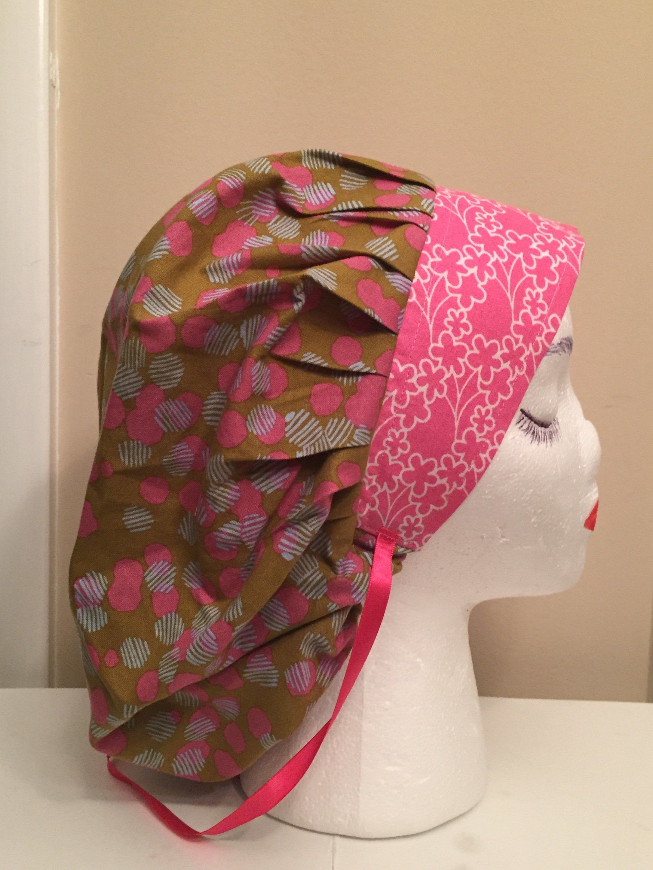 100 Cotton Bouffant Scrub Cap W Contrast Bib Abstrct Pattern