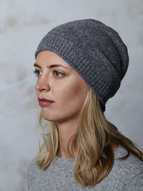 Womens  knitted grey merino wool beanie hat Slouchy grey beanie hat Women cable knit  hats Knitted winter hat Grey beanie hat