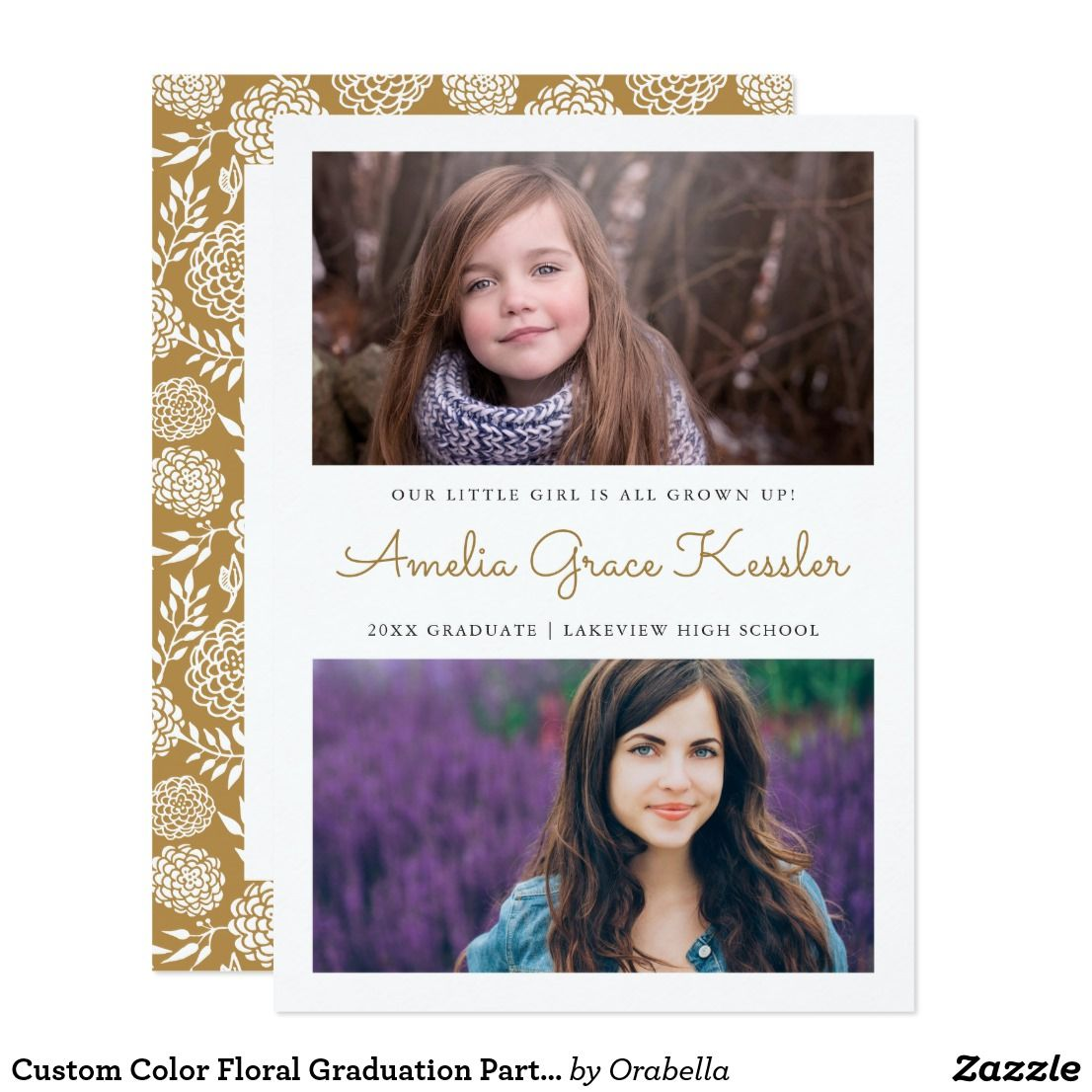 Custom Color Floral Graduation Party Invitation | Party invitations