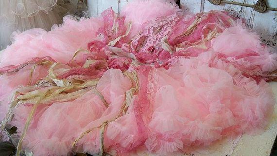Shabby chic pink tree skirt Christmas ruffled by AnitaSperoDesign, $175.00