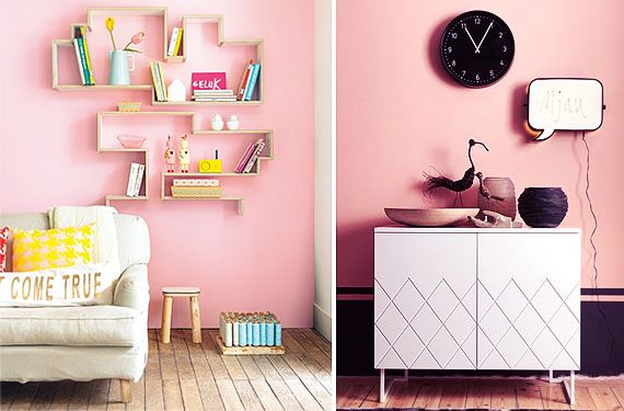 Salones con paredes color rosa ¡diferentes!   Interiors and Room