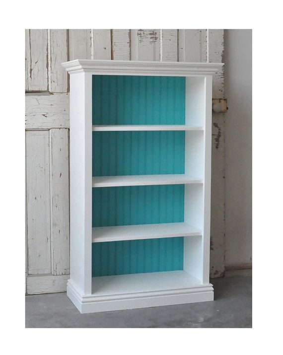 bookshelf turquoise ivory hometalk lined chalkpainted wallpaper shelves with