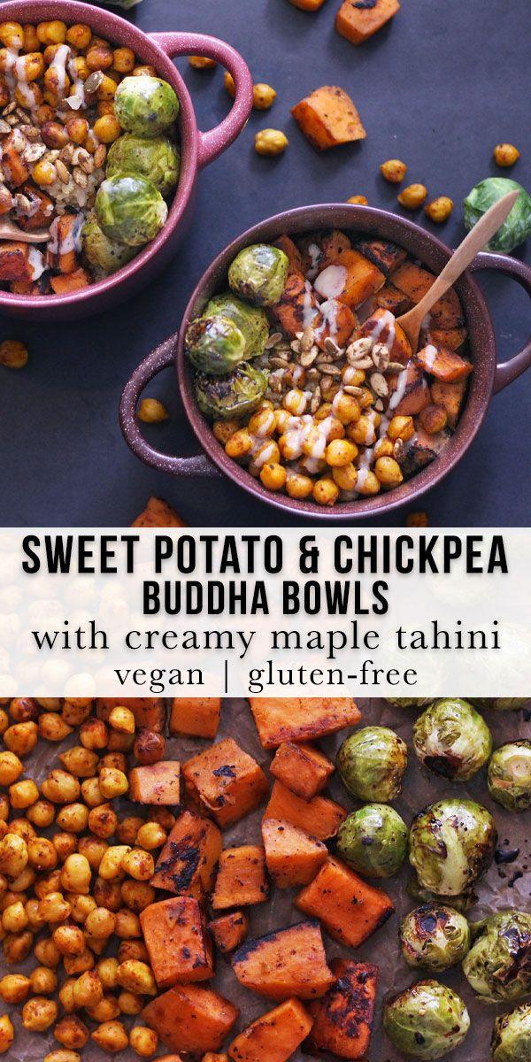 Sweet Potato & Chickpea Buddha Bowls with Maple Tahini (Vegan, Gluten-Free)