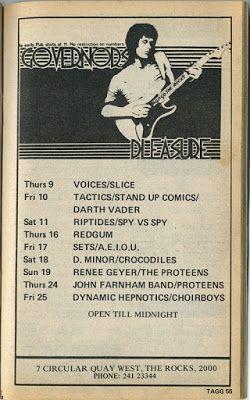 1980's Sydney Gig Guide