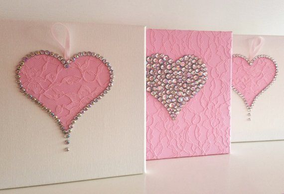 Hearts Wall Art Set Of 3 Pink And White Girls Room Handmade Etsy Heart Wall Art White Girls Rooms Girl S Room