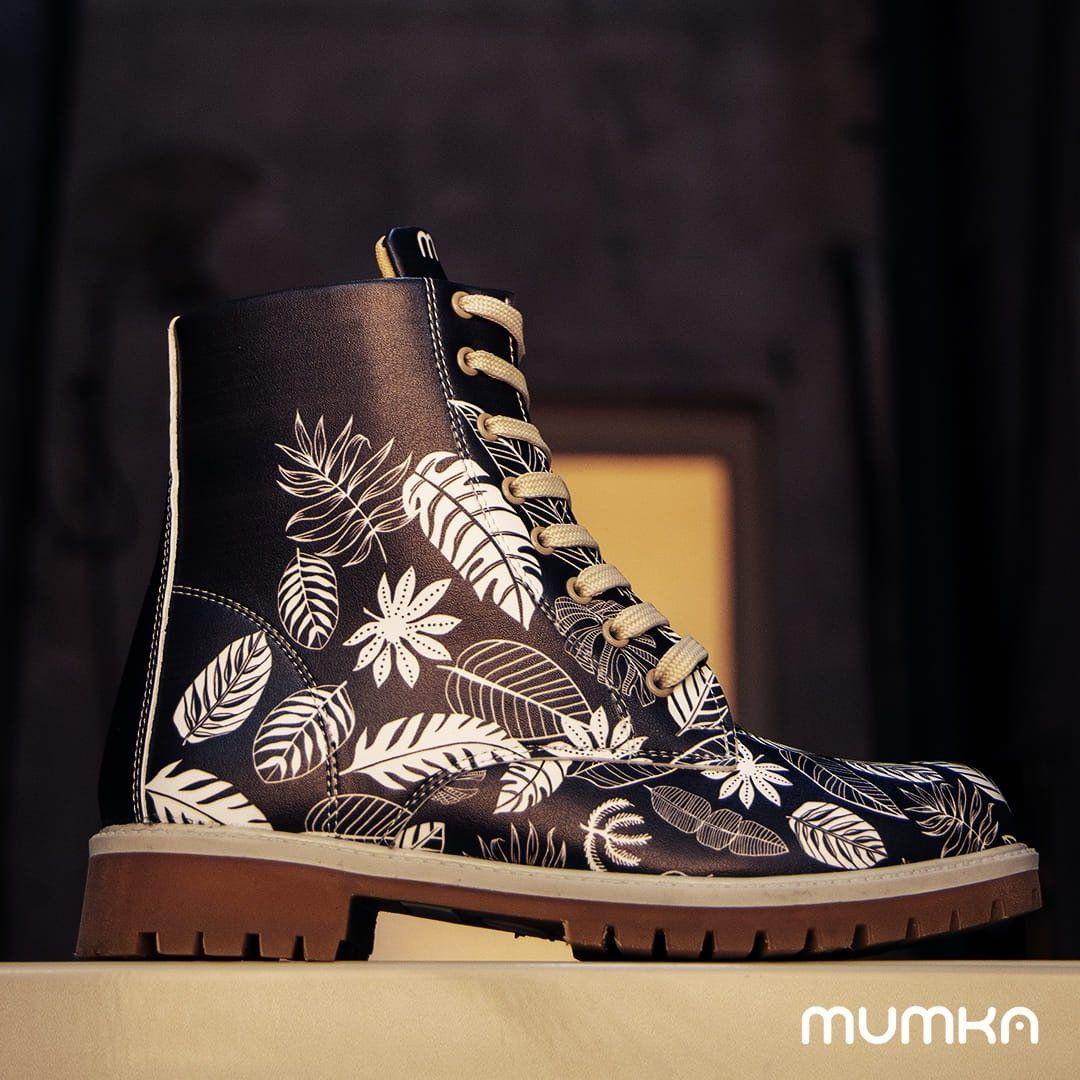 Trapery Czarne W Biale Liscie Mumka Shoes Polska Combat Boots Boots Rain Boots