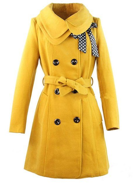 yellow pea coat with neck ribbon | Health and fitness ...