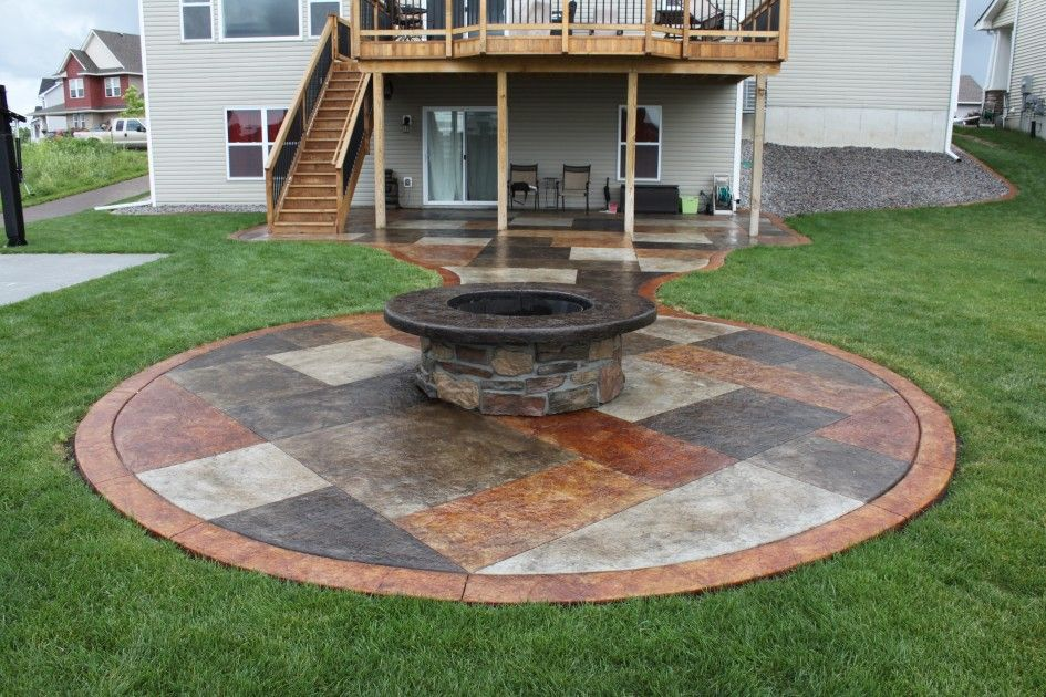 Witching Fire Pit on Concrete Patio also A Pair of Metal ... on Square Concrete Patio Ideas  id=53279