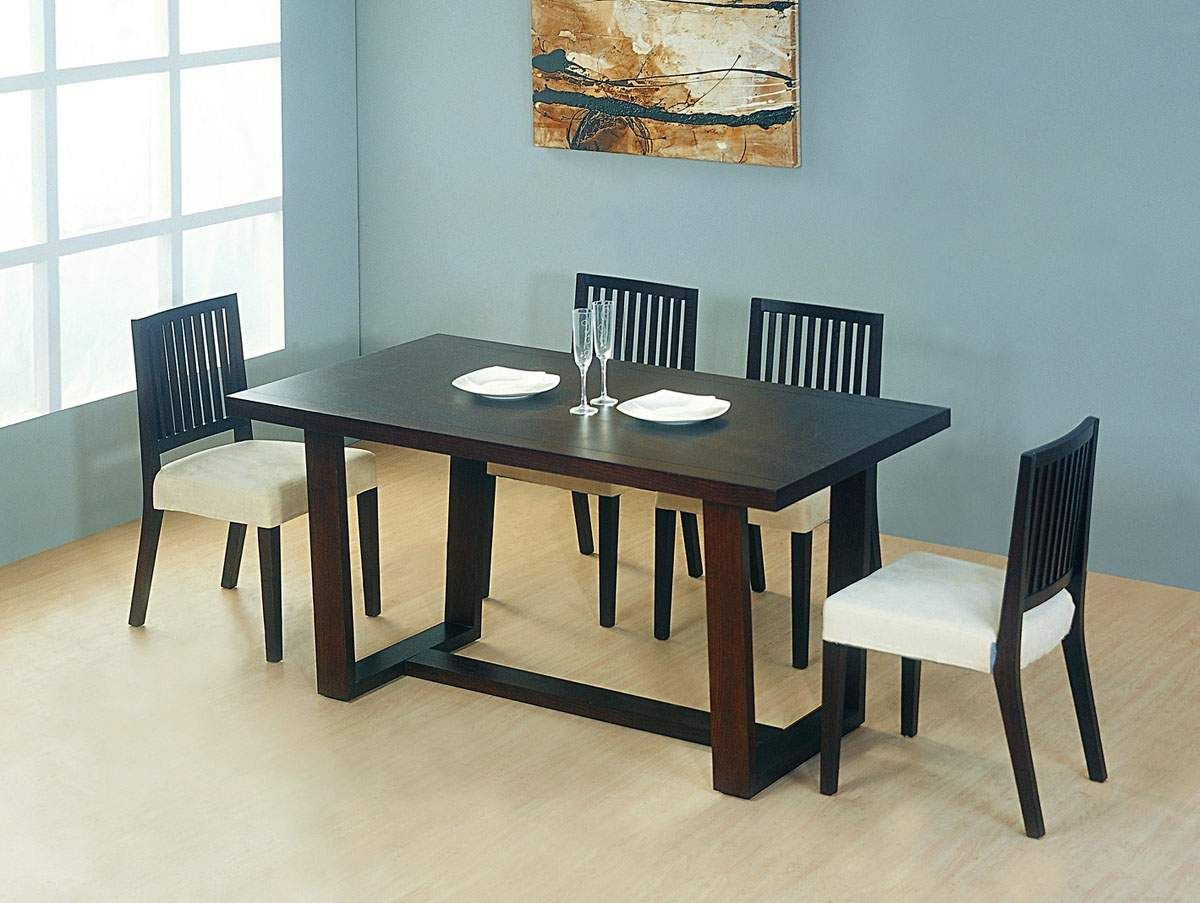 Contemporary Wooden And Microfiber Seats Designer Modern Dining