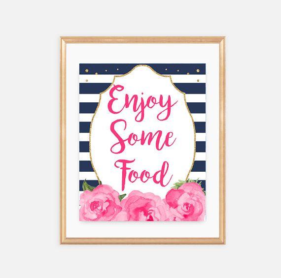 Food Sign, Food bar, Enjoy some food, Baby Shower, Supplies - halloween decoration printouts