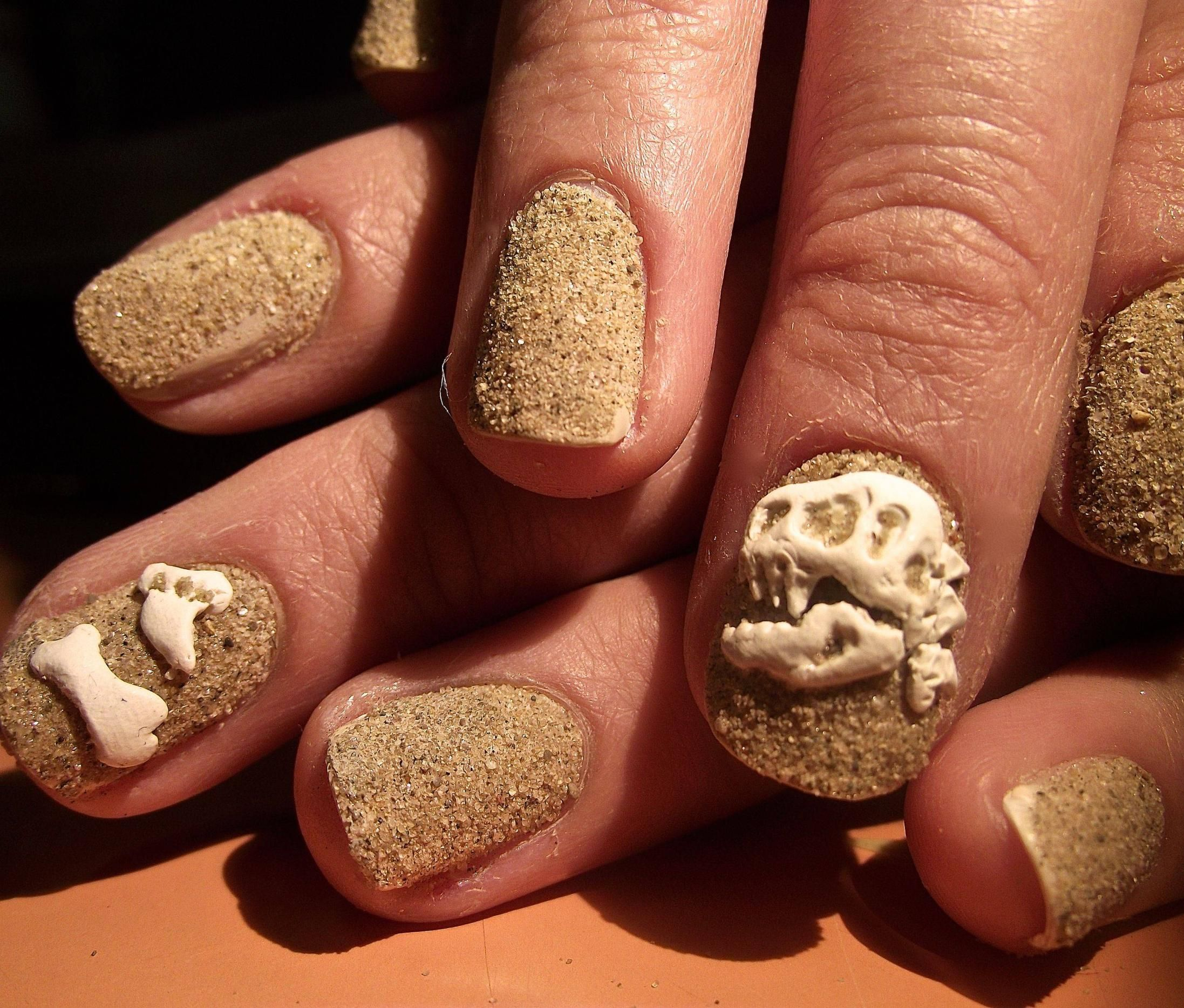 Fossil nails - sand over nude base with polymer clay dinosaur ...