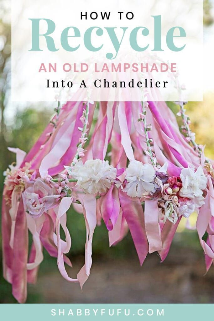 How To Recycle An Old Lampshade Into A Chandelier DIY #summer #parties #entertaining #tablescapes #ribbon #lamp #lighting #outdoors #patio #porch #creativediy #sff225