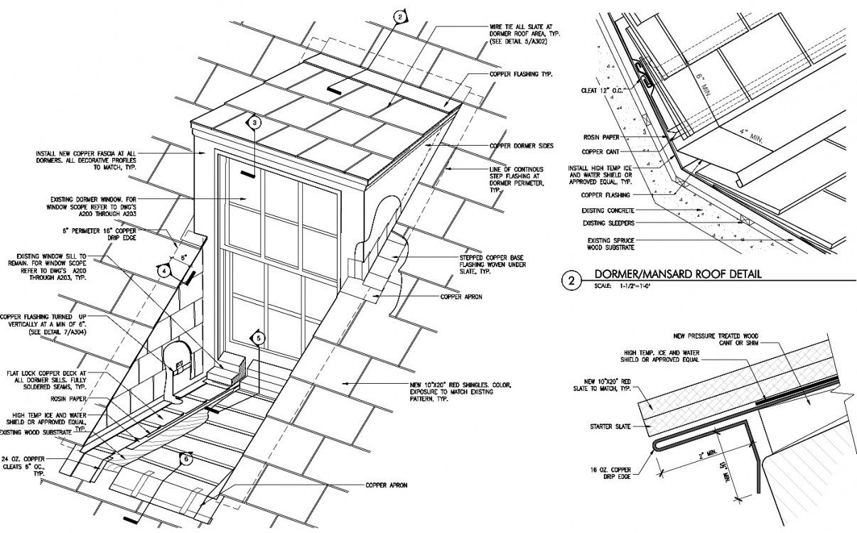 Construction details illustrating profiles and