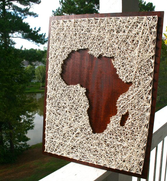 Africa String Art africa wall art africa home decor continent wall art & Africa String Art | Africa Art | Map of Africa | Map String Art ...