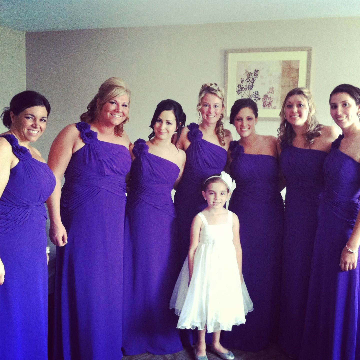 cb7528e1ad7 My bridesmaids in their dresses! Purple regency.  bridesmaids  dresses   wedding  purple  royalpurple  regency  ridolfiwedding July 6