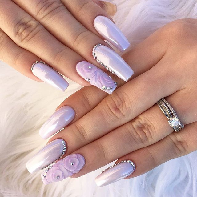 Square shaped long nail design with baby lilac purple gel polish and ...