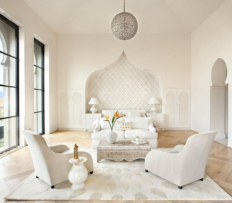 Elegant Bedroom In White Combines Mediterranean And Moroccan Influences 33  Dreamy Moroccan Bedrooms That Blend Rich Color With Contemporary Creativity