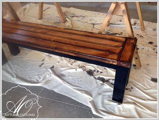 AutumnOstlundDesign: Straight leg farmhouse bench