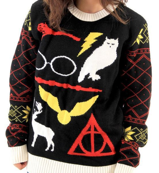 harry potter ugly christmas sweater with harrys owl hedwig the deathly hallows sign the quidditch snitch and more - Harry Potter Ugly Christmas Sweater